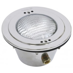 Swimming pool lighting made of AISI 316L acid-resistant stainless steel with polished front 300W